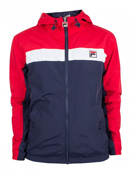 Fila Vintage Peacoat/Chinese Red Clipper Panel Light Hooded Jacket