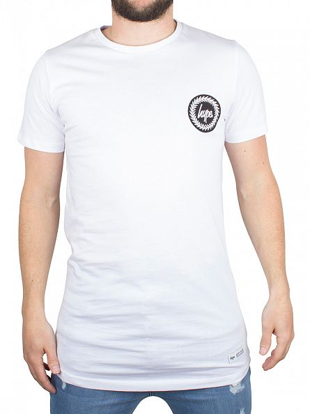 Hype White Curved Hem Dished Crest Logo T-Shirt