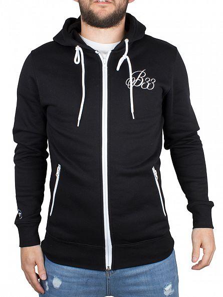 Bee Inspired Black B33 Logo Zip Hoodie