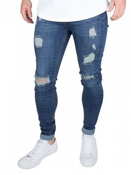 Bee Inspired Dark Blue Heavy Distressed Skinny Stretch Jeans