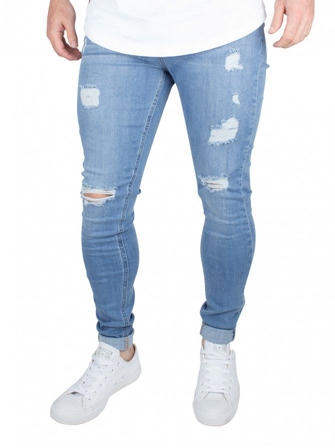 Bee Inspired Light Blue Heavy Distressed Skinny Stretch Jeans