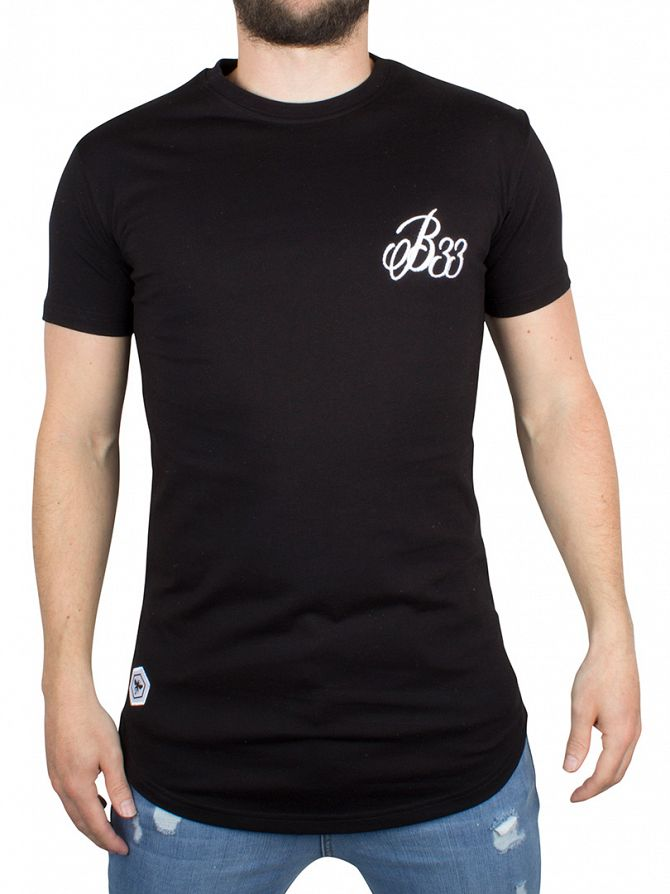 Bee Inspired Black B33 Curved Hem Logo T-Shirt