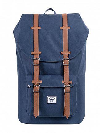 Herschel Supply Co Navy/Tan Little America Straps Backpack