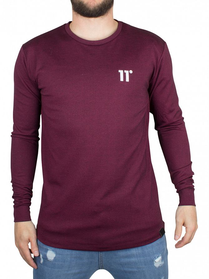 11 Degrees Burgundy/Black Composite Logo Longsleeved T-Shirt