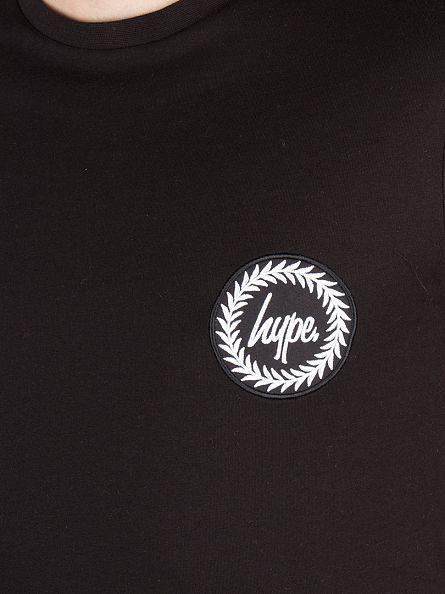 Hype Black Curved Hem Dished Crest Logo T-Shirt