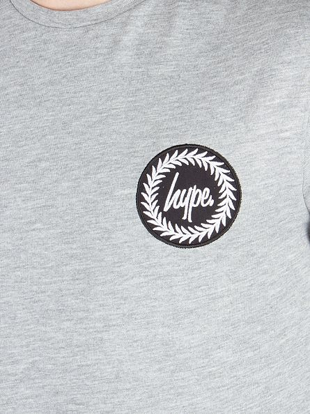 Hype Grey Longsleeved Crest Logo T-Shirt