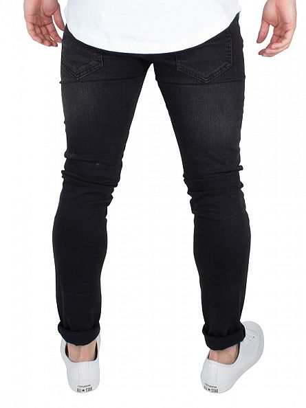 Bee Inspired Black Biker Slim Fit Washed Textured Jeans