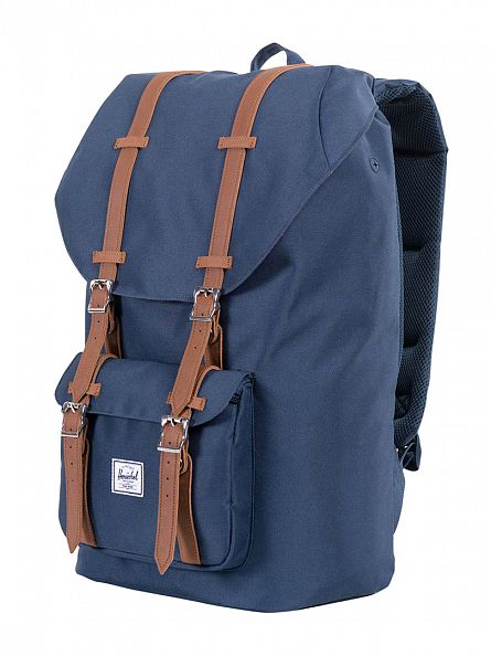 Herschel Supply Co Navy/Tan Little America Straps Backpack