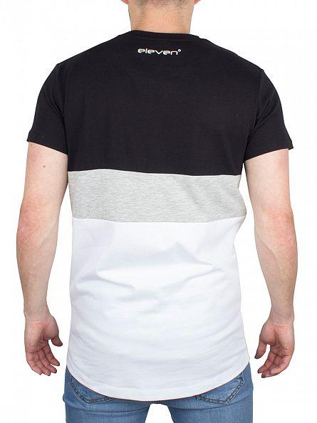 11 Degrees Black/Grey/White Triple Panel Logo T-Shirt