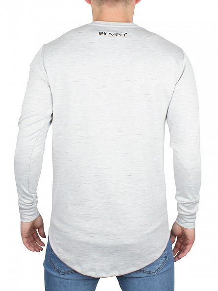 11 Degrees Grey Composite Logo Flecked Longsleeved T-Shirt