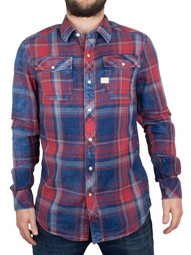 G-Star Indigo/Antic Red Landoh Checked Slim Fit Shirt