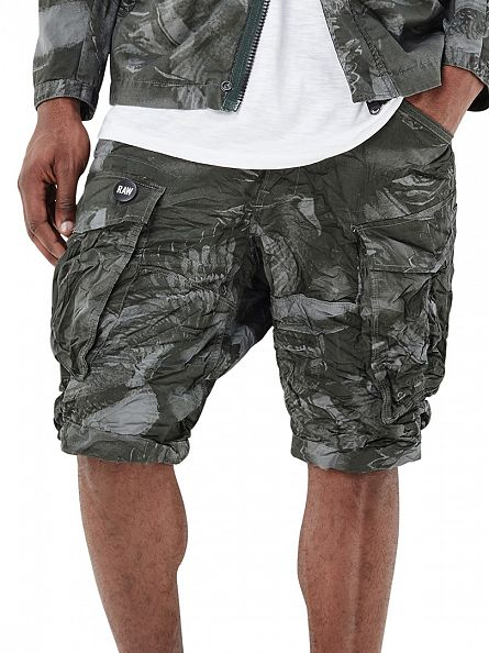 G-Star Orphus/Dark Green AO Rovic Loose 1/2 Cargo Camo Shorts