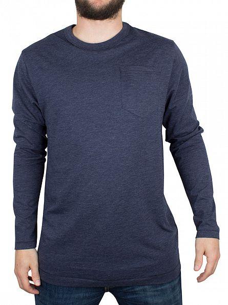 G-Star Sartho Blue Yedur Pocket R T Longsleeved Marled T-Shirt