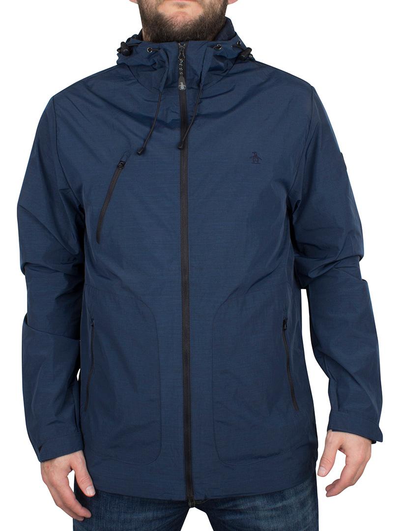original penguin dark sapphire melange logo hooded sports jacket