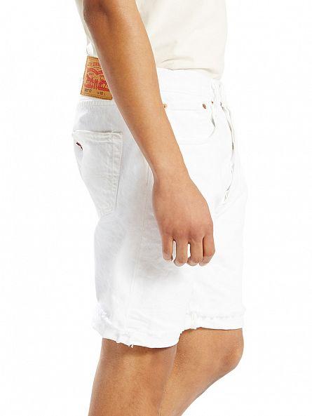 Levi's White 501 CT Frayed Shorts