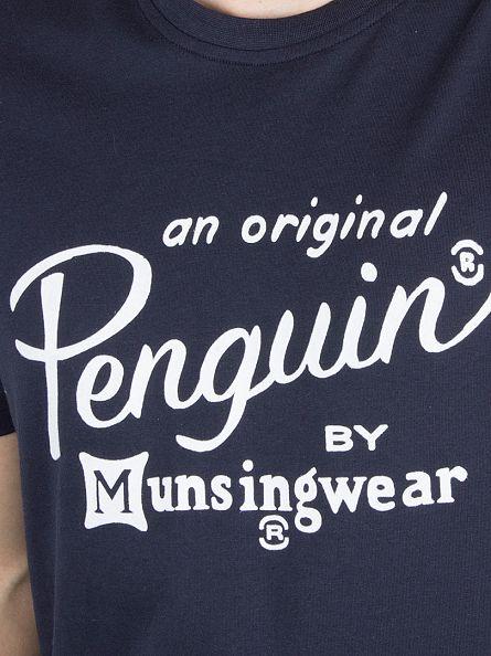 Original Penguin Dark Sapphire Flocked Script Text T-Shirt