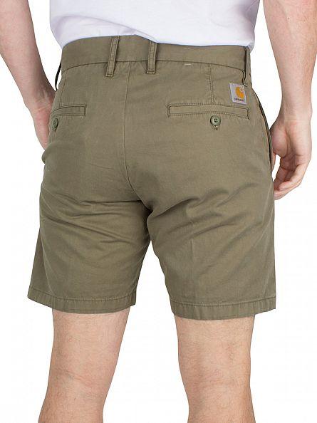Carhartt WIP Bog Green Johnson Logo Chino Shorts