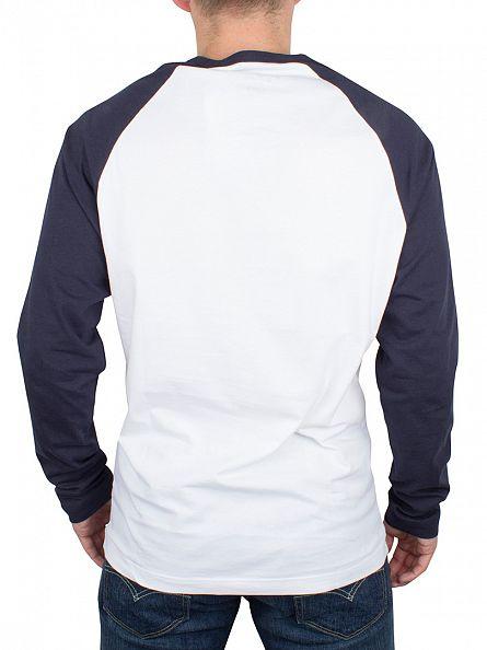 Original Penguin Bright White Longsleeved Baseball Raglan Logo T-Shirt