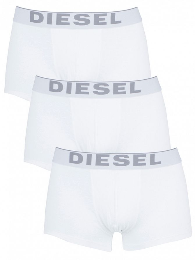 Diesel White 3 Pack Essential Stretch Cotton Boxer Trunks