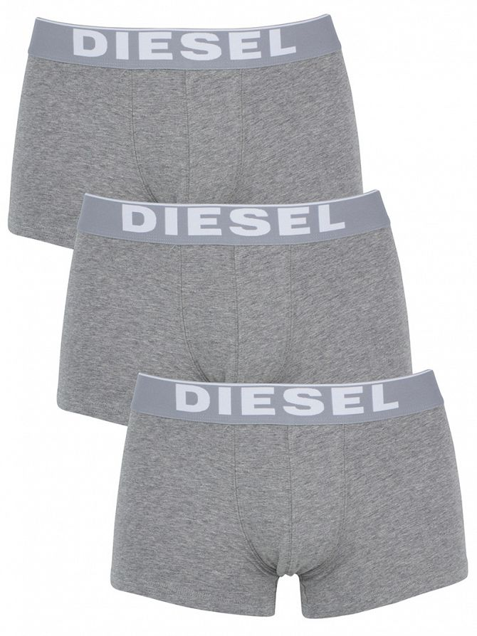 Diesel Grey 3 Pack Essential Stretch Cotton Boxer Trunks