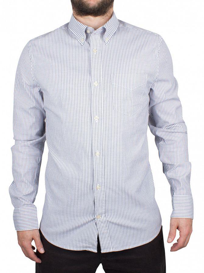 J Lindeberg Dark Blue Dani Button Down Striped Slim Fit Oxford Shirt