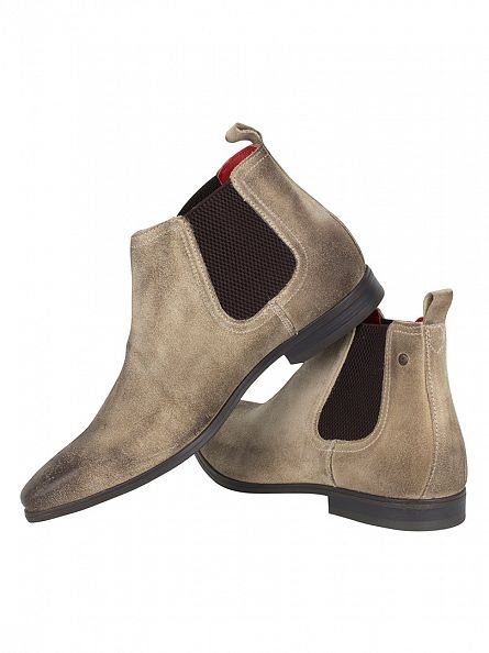 Base London Beige William Greasy Suede Boots