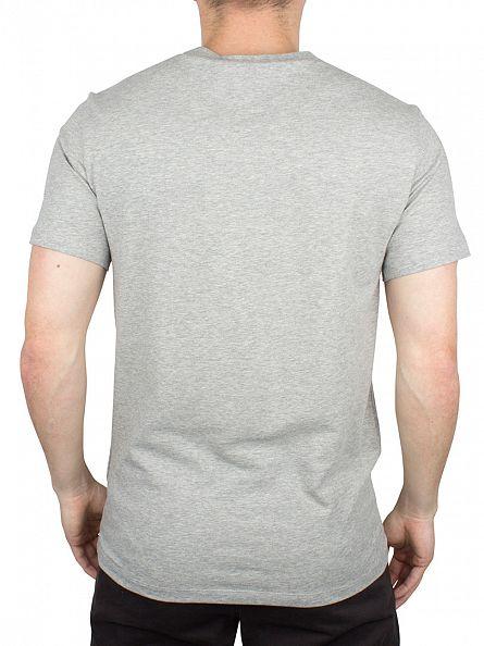 J Lindeberg Grey Melange Silas Logo Marled Cotton Jersey T-Shirt