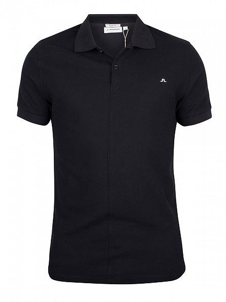 J Lindeberg Black Rubi Slim Fit Logo Polo Shirt