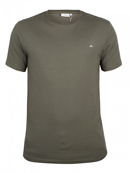 J Lindeberg Military Green Silas Logo Cotton Jersey T-Shirt