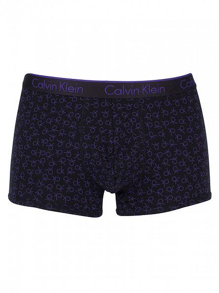 Calvin Klein Black/Purple CK One All Over Logo Print Trunks