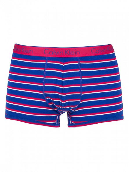 Calvin Klein Deep Pink/Blue CK One Mead Stripe Trunks