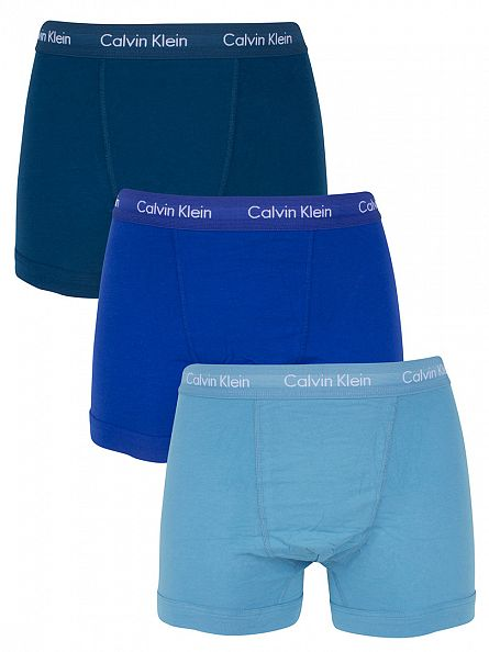 Calvin Klein Navy/Royal/Turquoise 3 Pack Cotton Stretch Logo Waistband Trunks