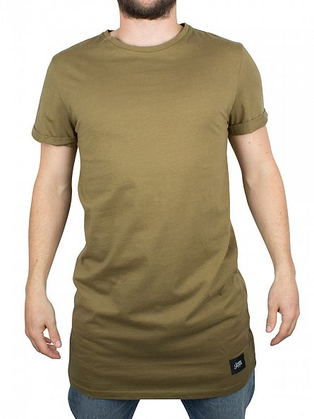 Sixth June Khaki Plain Longline Logo T-Shirt