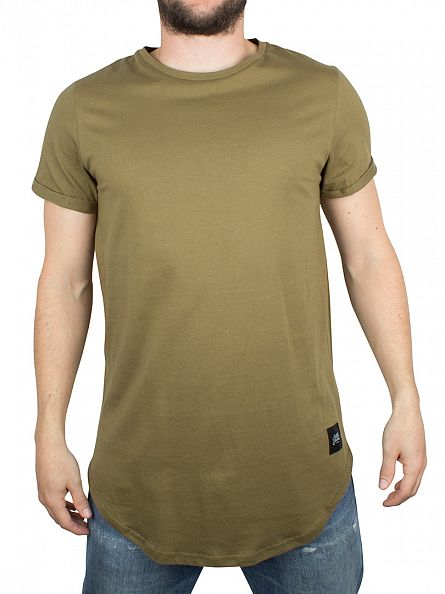 Sixth June Khaki Plain Logo Curved Hem T-Shirt