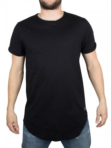 Sixth June Black Plain Logo Curved Hem T-Shirt