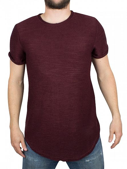 Sixth June Burgundy Textured Zip T-Shirt