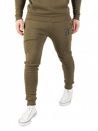 11 Degrees Khaki Core Logo Joggers