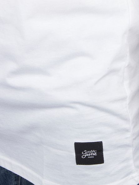 Sixth June White Plain Longline Logo T-Shirt