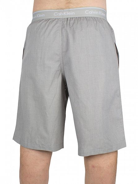 Calvin Klein Ashford Grey Hatch Check Logo Waistband Pyjama Shorts
