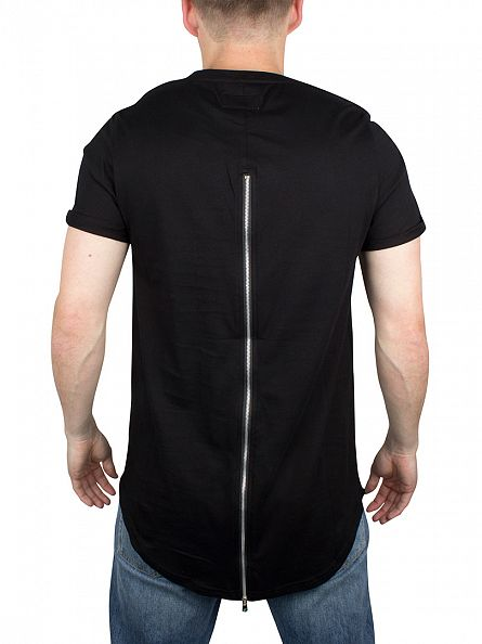 Sixth June Black Curved Hem Zip T-Shirt