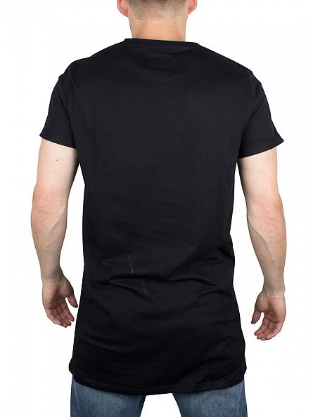 Sixth June Black Plain Longline Logo T-Shirt