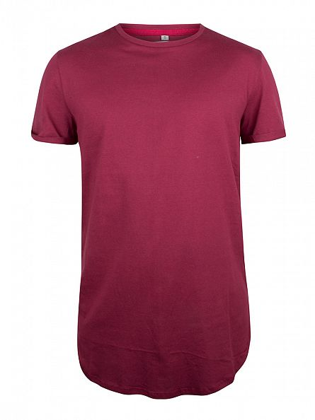 Sixth June Burgundy Curved Hem Zip T-Shirt