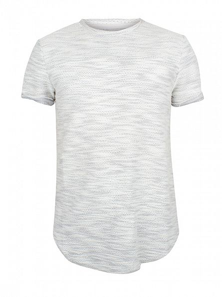 Sixth June Light Grey/White Textured Zip T-Shirt