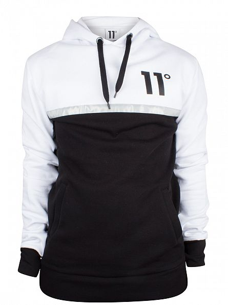 11 Degrees Black/White Contrast Reflect Panel Logo Hoodie