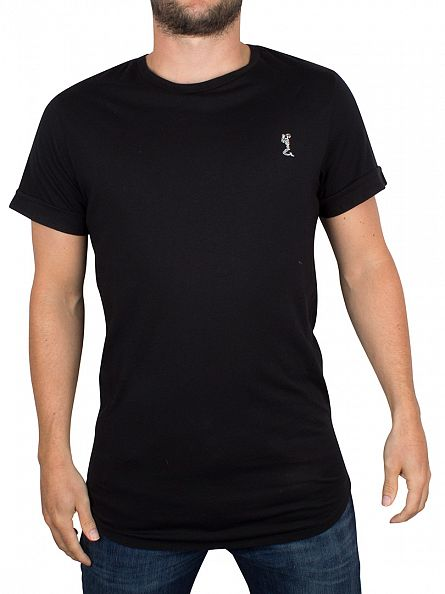 Religion Black Curved Hem Logo T-Shirt