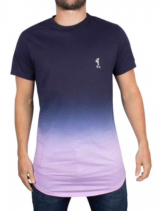 Religion Navy/Pink Block Fade Logo T-Shirt