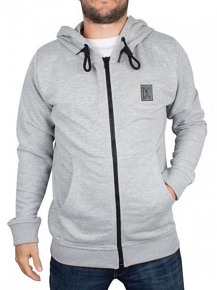 Religion Grey Marl Badge Logo Zip Hoodie