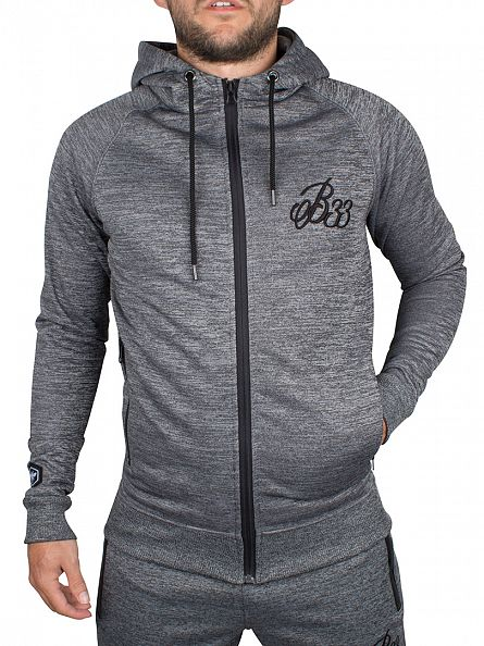 Bee Inspired Grey Scuba Mouline Logo Zip Hoodie