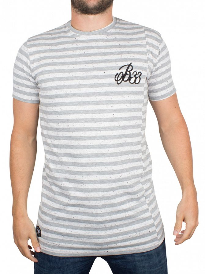 Bee Inspired Grey/White Fleet Stripe Flecked Logo T-Shirt