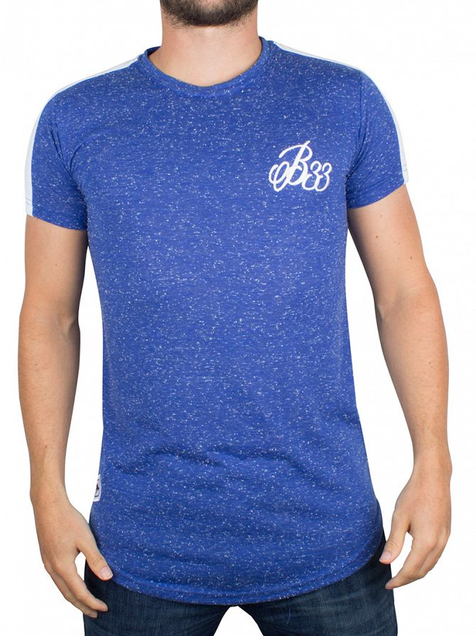 Bee Inspired Blue Jamieson Flecked Curved Hem Logo T-Shirt